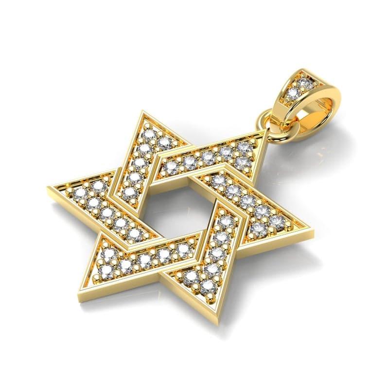 14K Yellow Gold Star of David Pendant set with 0.28 Carat Diamonds