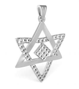 14k White Gold Star of David Pendant Necklace ,Gold Magen David Zirconia Pendant Necklace Israel