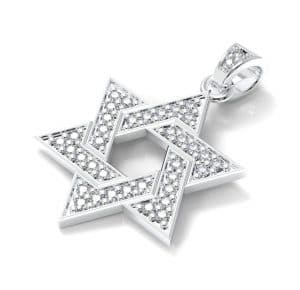 14K White Gold Star of David Pendant set with 0.28 Carat Diamonds