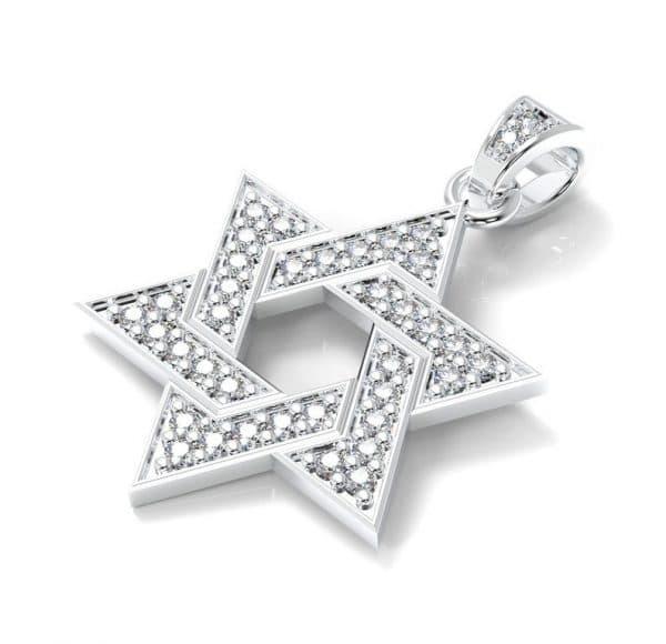 14K White Gold Star of David Diamonds Pendant