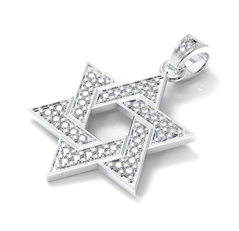 Colgante Estrella de David Oro Blanco 14K Diamantes