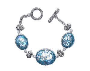 Amazing Ancient Roman Glass 925 Silver Bracelet