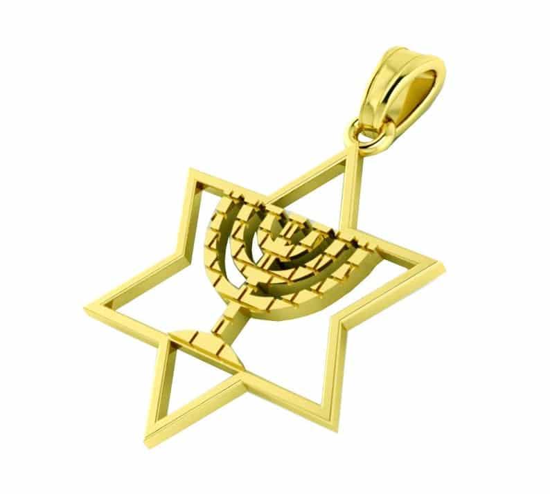 Colgante Menorah Jerusalén de Oro de 14 k