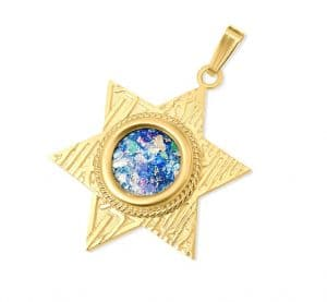 14K Gold  Star of David Roman Glass Necklace 2