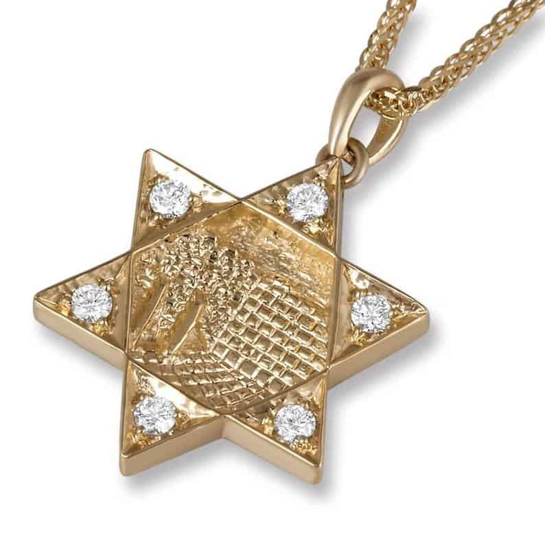 18K Yellow Gold Star of David Jerusalem Pendant set with Round Brilliant 0.2 Carat Diamonds