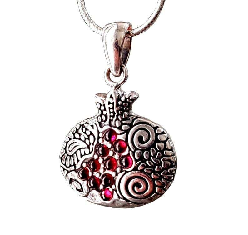 925 SIlver Pomegranate Judaica Pendant Necklace set with Red Garnets Stones with Silver Chain