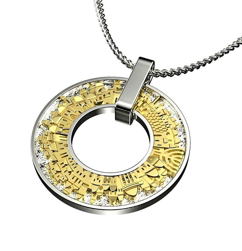 3D star of Jerusalem Necklace 925 Silver 9k Gold