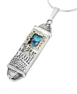 3D Jerusalem Roman Glass 925 Silver Mezuzah Pendant Necklace,Judaica gift