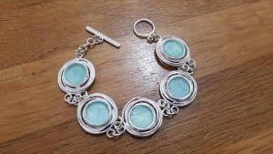 Amazing Ancient Roman Glass 925 Silver Bracelet,Ancient Glass Israel