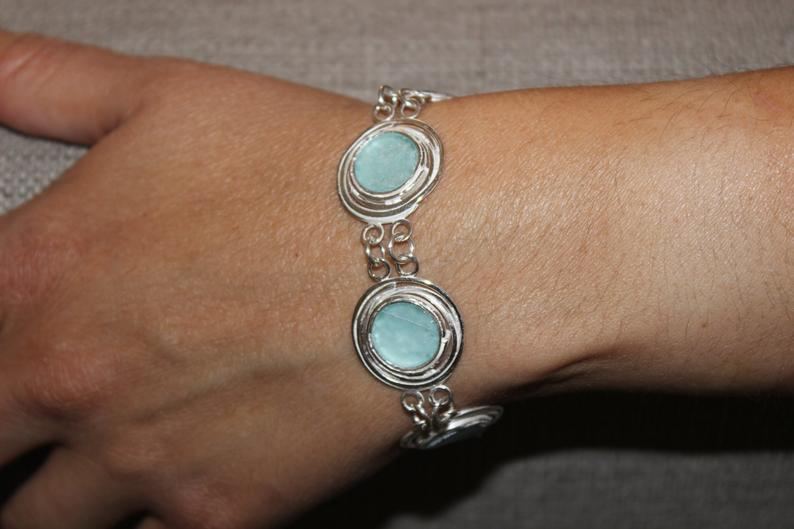Amazing Ancient Roman Glass 925 Silver Bracelet,Ancient Glass Israel