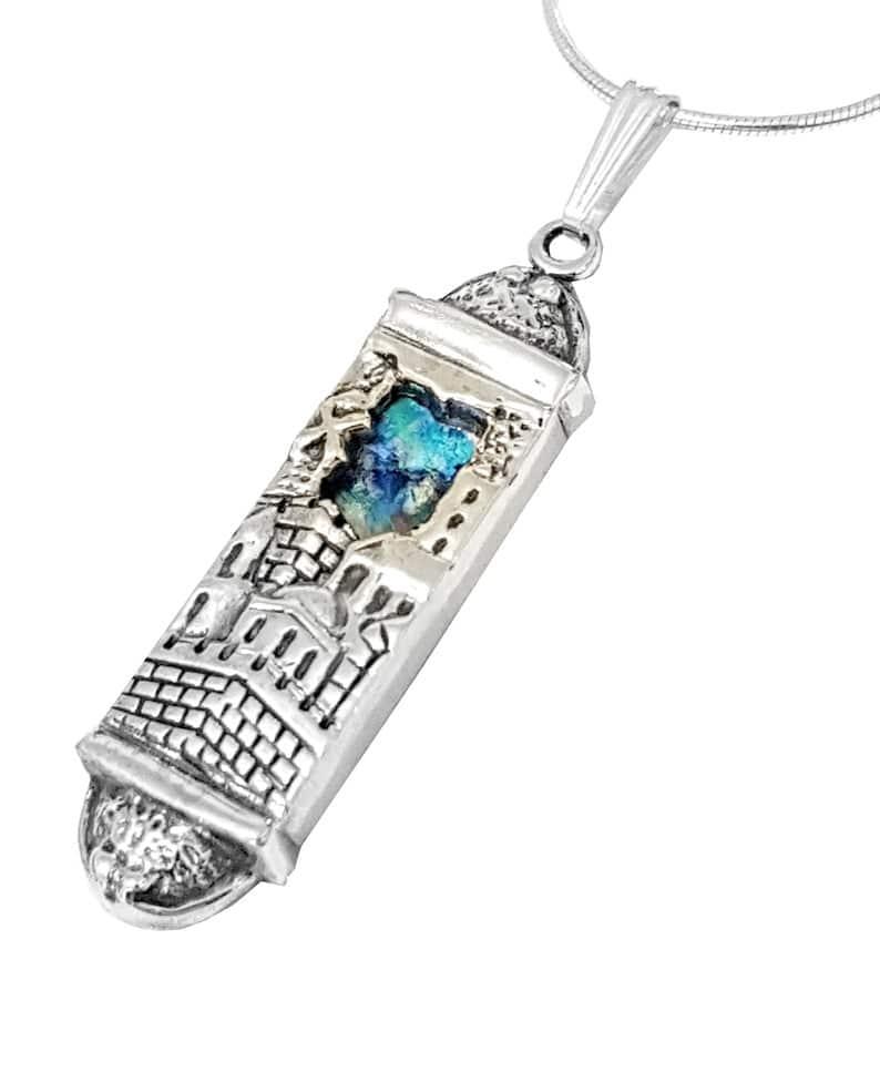 Collar Mezuzá de Plata 925 - Diseño de Jerusalén