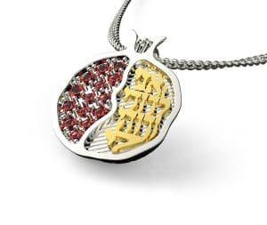 Collar Colgante de 925 Plata y Oro 9k Ani Le Dodi de Granada con Granates