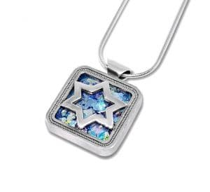 925 Silver Star of David Anceint Roman Glass pendant Necklace