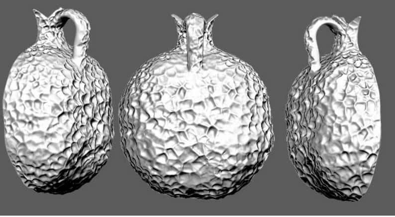 925 Silver 9k Gold Ani Le Dodi Pomegranate Pendant Necklace set With Garnets