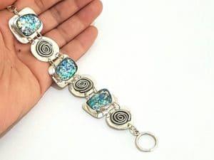 One Of A kind Hand Made Ancient Roman Glass 925 Silver Spiral Bracelet ,Roman Glass Bracelet