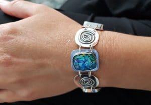 Hand Made Ancient Roman Glass 925 Silver Spiral Bracelet