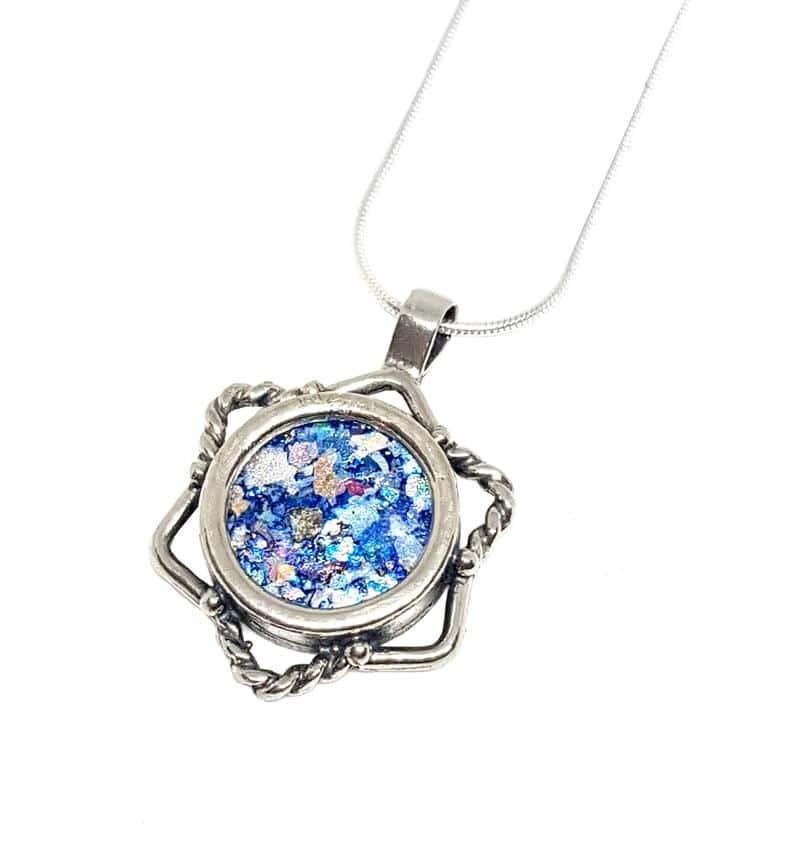 925 Sterling Silver Judaica, Ancient Roman Glass Star of David Pendant , Magen David Israel Jewelry ,Star of David Filigree Pendant