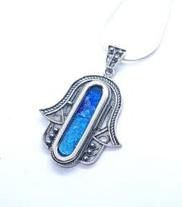 Silver Hamsa Necklace - Yemenite Design