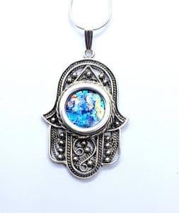 925 Sterling Silver Hamsa Hand Necklace