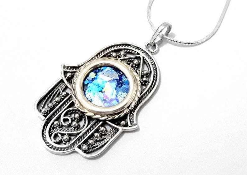 925 Sterling Silver Roman Glass Yemenite Filigree Hamsa Pendant Necklace ,Jewish Pendant