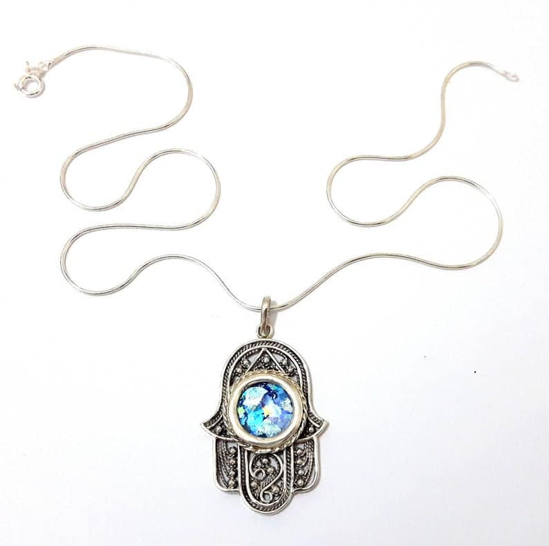 925 Sterling Silver Hamsa Hand Necklace