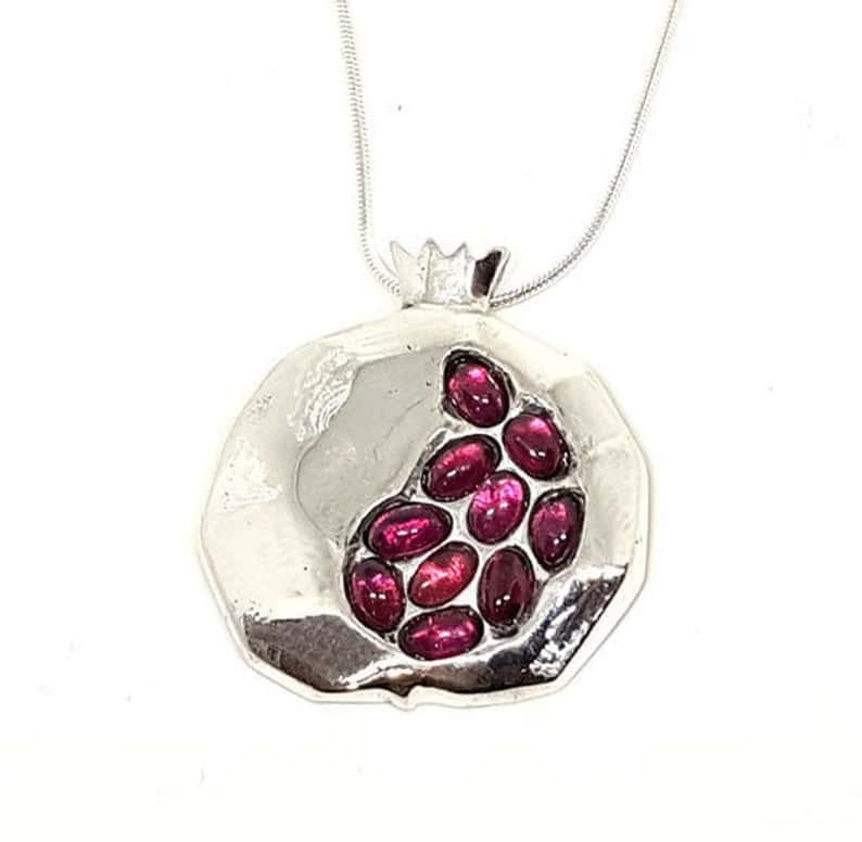 925 Silver Big Pomegranate Judaica Pendant Necklace set with Egg Garnet Stones
