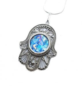 925 Sterling Silver Roman Glass Filigree Hamsa Pendant necklace,Roman Glass Pendant