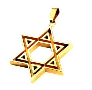 14k Gold  Hammered Texture Star of David Pendant