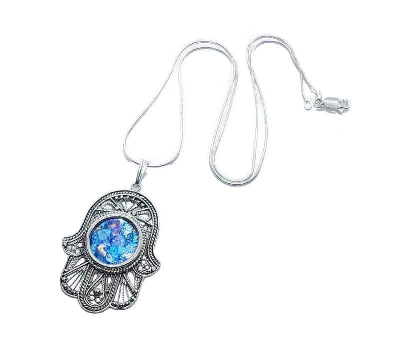 925 Sterling Silver Roman Glass Filigree Hamsa Pendant necklace,Roman Glass Pendant