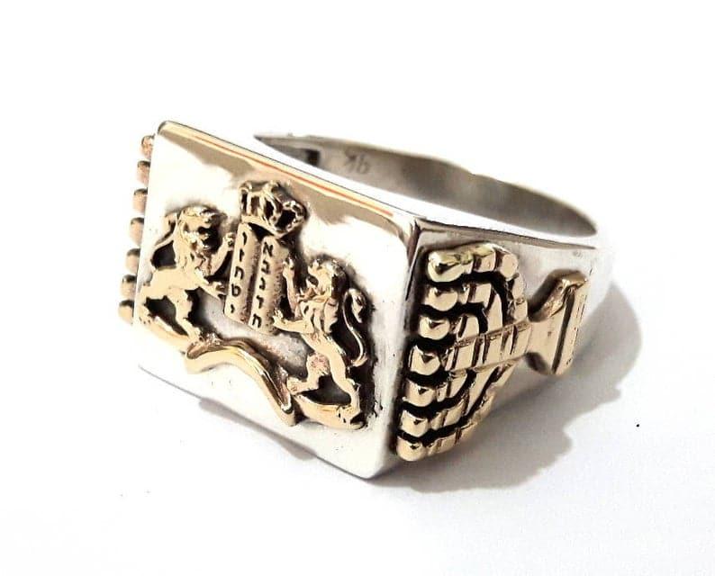 925 Silver 9k Gold Ten Commandments Ring
