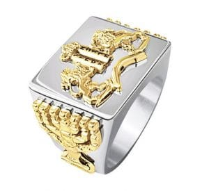 925 Silver 9k Gold Ten Commandments Ring