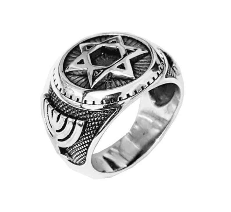 925 Silver Star of Menorah David Ring Ring