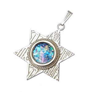 925 Silver Star of David Roman Glass Shema Israel Pendant