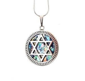 925 Sterling Silver Star of David Pendant with Ancient Roman Glass
