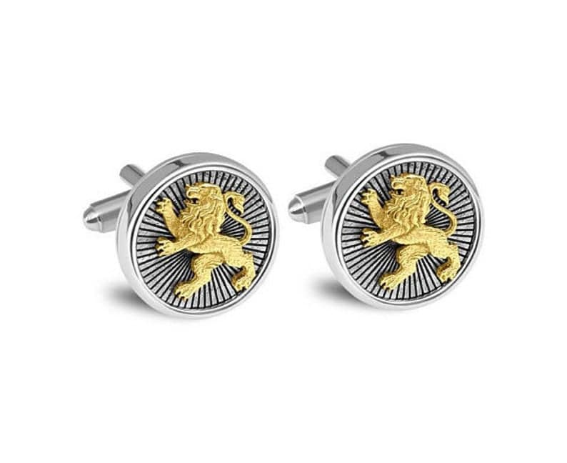 9k Gold 925 Silver Lion of Judah Cufflinks