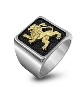 9k Gold 925 Silver Lion of Judah Ring, Men Ring