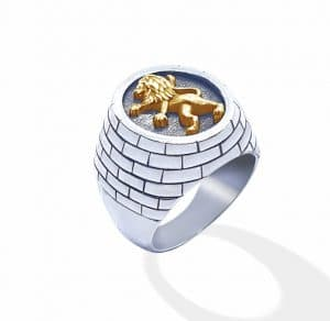 9k Gold 925 Silver Lion of Judah Jerusalem  Ring