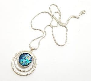 925 Sterling Silver Bluish Roman Glass Pendant