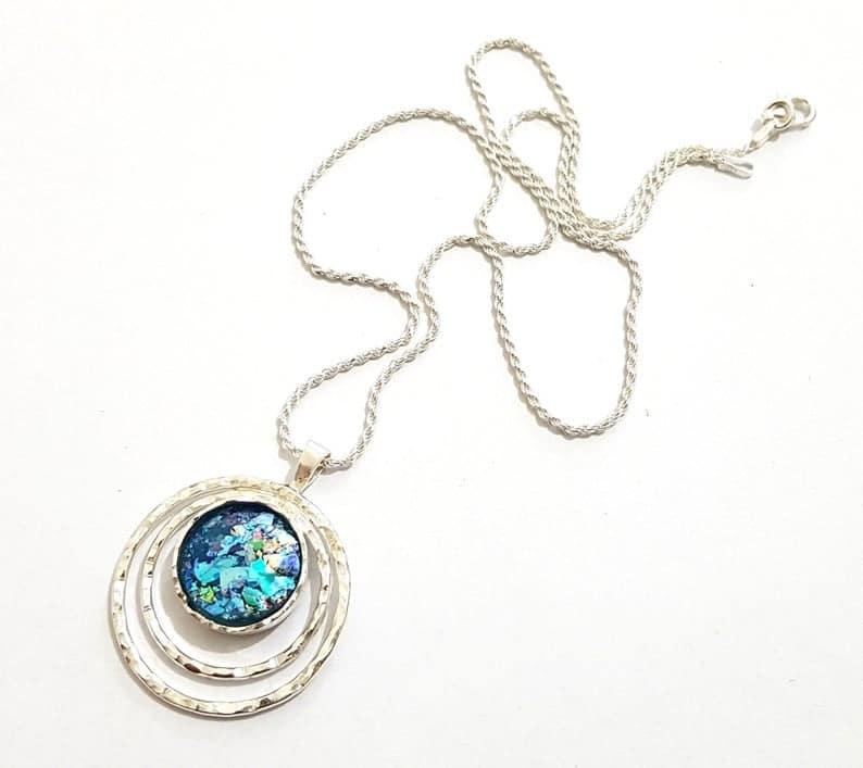 Colgante de cristal romano azulado de plata esterlina 925