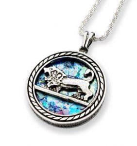 Collar con Colgante de Cristal Romano de León de Judá de Jerusalén en Plata Eesterlina 925