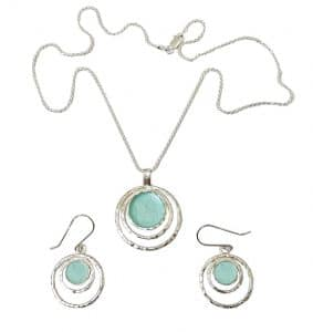 925 Sterling Silver Roman Glass Set -  Pendant and Matching Earrings