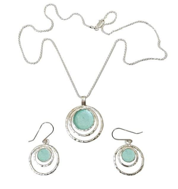 925 Sterling Silver Roman Glass Set
