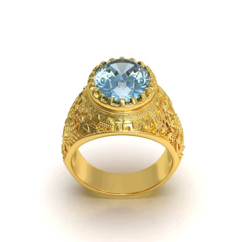 14k Gold 3D Jerusalem Ring Topaz Gemstone