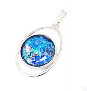 925 Silver Bluish Roman Glass Pendant Necklace with Silver Chain