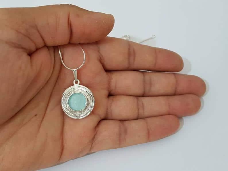 Colgante de Cristal Romano Azul - Joyas de Cristal Romano