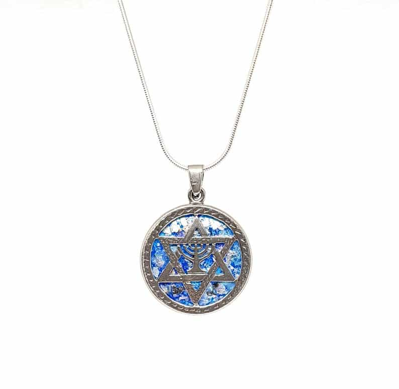 925 Sterling Silver Menorah Star of David Pendant with Roman Glass