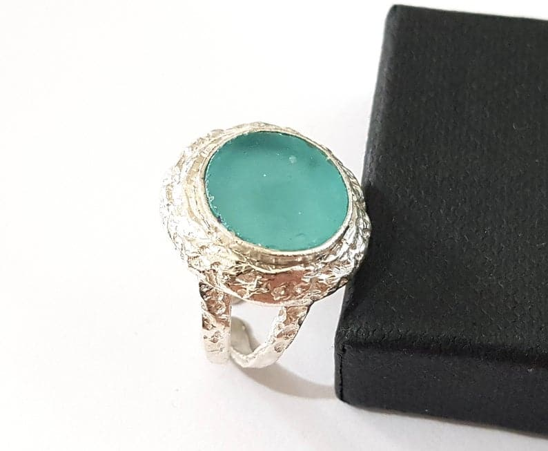 925 Sterling Silver Ancient Roman Glass Adjustable Ring