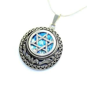 925 Sterling Silver -  Ancient Roman Glass Star of David