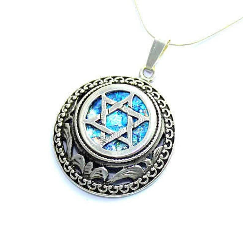 925 Sterling Silver -  Ancient Roman Glass Bold Magen David