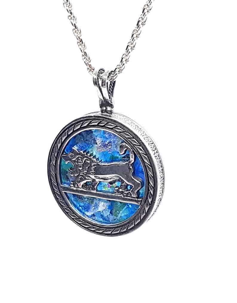 925 Sterling Silver Jerusalem Lion of Judah Roman Glass Pendant Necklace